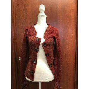 BKE Buckle Women Maroon Cardigan Sweater Button XS